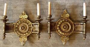 Pair Of Early 1900 S Heavy Solid Brass Antique Wall Sconces Federal French Lamps