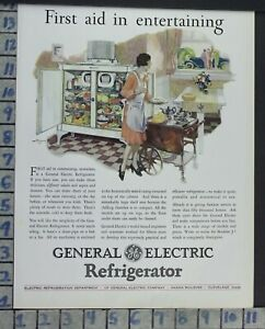 1928 General Electric Refrigerator Kitchen Cook Home Decor Vintage Art Ad Ce23