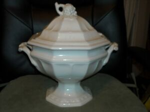 Red Cliff Ironstone Grape Tureen Soup Stew White Large W Lid Blue Makers Marks