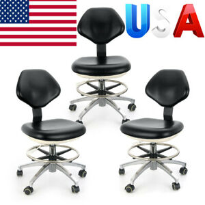3x Leather Dentist Stool Medical Dental Adjustable Mobile Chair Use Nurse Doctor