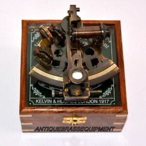 Vintage Marine Collectible With Wooden Box Brass German Nautical Sextant Q115