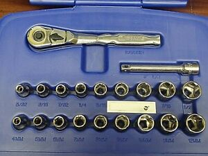 Kobalt 1 4 In 20 Piece Sae Metric Socket Ratchet Set
