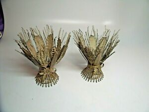 Pair Of Vintage Metal Hand Painted Tole Wheat Sheaf Taper Candle Holders 6 5