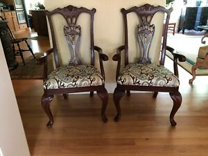 Vintage Mahogany Carved Chippendale Style Chairs Pair