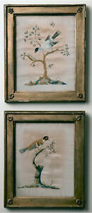 Framed Antique English Or French Embroidery Of Birds On Silk Ca 1800 1820