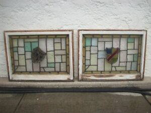 Pair Of Vintage Antique Stained Glass Windows Original Sashes 32 X 24 1 2