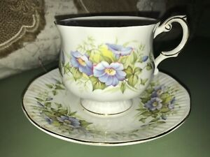 Vintage Rosina Bone China Tea Cup And Saucer Wild Flowers Made In England