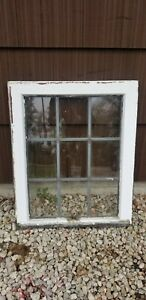 Antique Leaded Glass Wood Framed Window Sash Upper Circa Early 1900 S