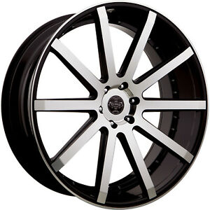 Versante Ve232 24x9 5 5x115 15mm Machined Black Wheels Rims 232249541 15bm