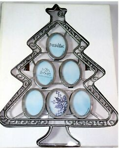 Metal Silver Vintage Family Christmas Tree 6 Picture Photo Frame Display New