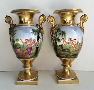 Antique Pair French Paris Porcelain Cherub Scene Painted Face Handle Urn Vase