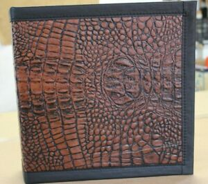 Dark Mahogany Brown Crocodile Embossed Cowhide Leather 2 3 Ring Binder