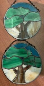 Vintage Pair Hand Crafted Stained Glass Window Hang Panels Tree Earth Sky 9 Diam