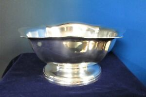 Us Navy Footed Centerpiece Silverplate Bowl W Fluted Rim 1944 World War Ii