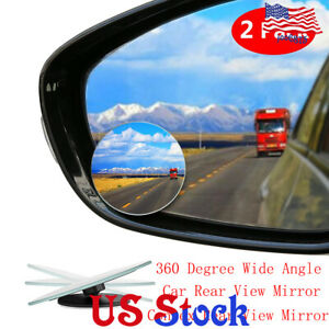 Car Rearview Boundless Small Round Mirror Hd Blind Spot 360 Degree Borderless Us