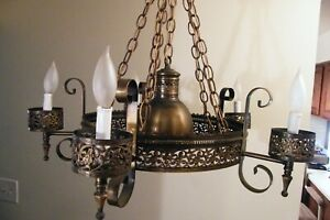 Vintage Gothic Tudor Medieval 5 Light Chandelier Light Fixture Center Spot