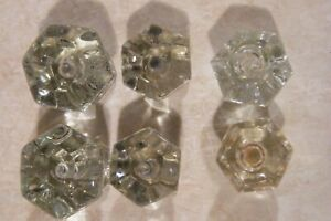 Lot Of 6 Antique Vintage Clear Glass Six Sided Cabinet Knob Drawer Pulls Variety