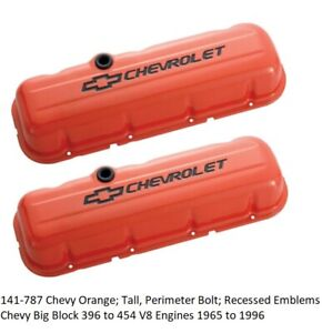 Proform 141 787 Big Block Chevy Stamped Steel Tall Orange Valve Covers Pair