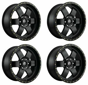 Set 4 17 Fuel Podium D618 Satin Black Wheels 17x9 6x5 5 01mm 6 Lug Truck Rims