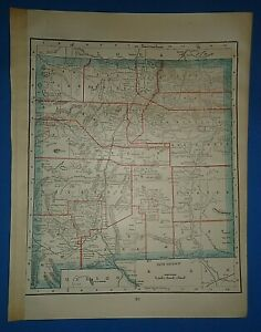 Vintage 1895 New Mexico Territory Map Old Antique Original Atlas Map 41519