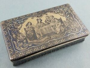 Fabulous French Silver Gilt Niello Box W Figural Scene C1800 S