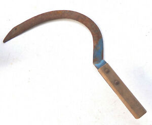Vintage Antique Hand Sythe Grass Sickle Corn Knife Farm Tool Rustic Iron Decor
