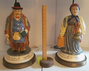 2 Big Ceramic Figurine Lamps Portly Travelers California Dresden Vt P U Only