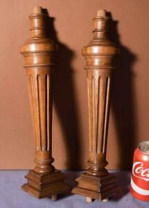 15 Pair Of French Antique Solid Walnut Wood Posts Pillars Columns Balusters
