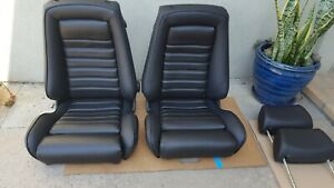 Bmw E21 320i Recaro Seat Replacement 1 Bolster Black German Vinyl Upholstery New