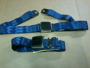 2pt Blue Lap Seat Belts Vintage Mustang Fastback Shelby Convertible Boss 302 289