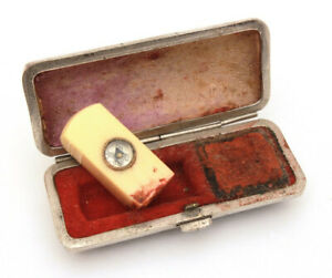 Antique Chinese Celluloid Wax Seal With Compass Fitted Leather Box Very Small