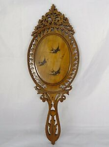 French Antique Carved Wood Framed Hand Held Mirror Swallow Marquetry 1900