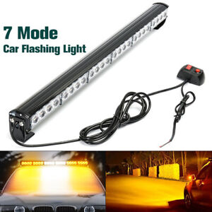 27 24 Led Car White Amber Emergency Strobe Light Bar Flash Dash Warning Lamp