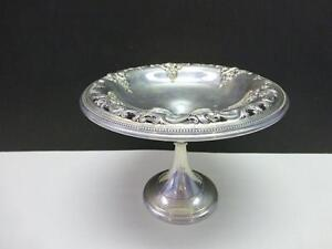 Wallace Pierced Grand Baroque Sterling Silver Footed Candy Nut Bowl Compote 5