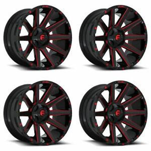 Set 4 22 Fuel Contra D643 Black Milled W Red Wheels 22x12 8x6 5 44mm Lifted