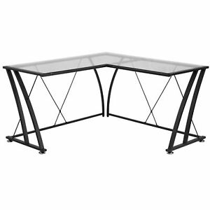 Jigos L shaped Clear Tempered Glass Top Black Frame Computer Desk