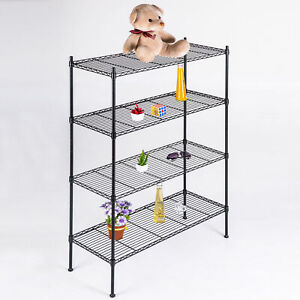 55 4 Tier Chrome Metal Kitchen Storage Unit Bookcase Shelf Wire Shelving Rack