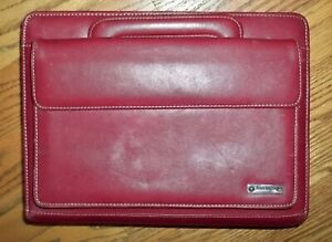 Franklin Covey Leather Classic 7 ring Planner W Retractable Handles Red