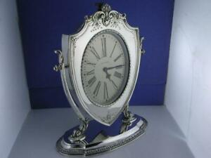 Sterling Reed Barton Clock Waltham Art Deco W Scroll Shell Repousse