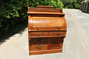 Fine Burl Walnut Victorian Cylinder Roll Desk With Fancy Carved Gallery Ca 1880