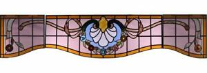 Antique Window Set Of Three Stained Leaded Glass Panels W Roses