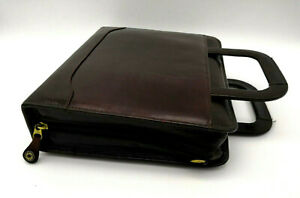 Franklin Covey Leather Zip 7 Rings Burgandy Planner binder Retractable Handles