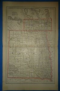 Vintage 1886 Dakota Territory Map Old Antique Original Atlas Map B