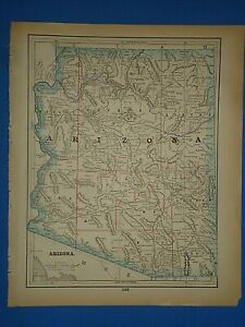 Vintage 1893 Arizona Territory Map Old Antique Original Atlas Map E