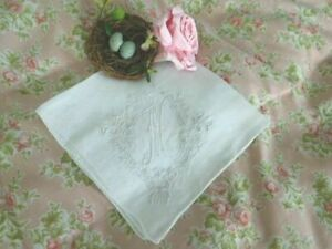 Antique Madeira Embroidery Net Lace Monogram M Vintage Bridal Wedding Hanky