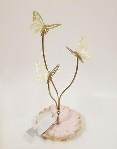 New Shabby chic Gold Tone 3 Metal Butterfly pink Flower Jewelry Holder Stand