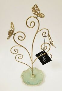 New Nicole Miller Gold Tone 3 Metal Butterfly green Dish Jewelry Holder Stand