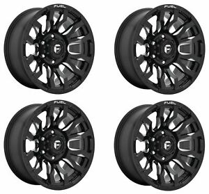 Set 4 20 Fuel Blitz D673 Gloss Black Milled Wheels 20x9 6x135 20mm Truck Rims
