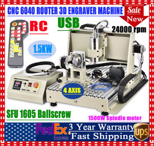 1 5kw Usb 4axis 6040 Cnc Router Engraving Machine Wood Milling Cutting Kit W rc