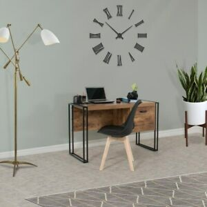 Urban Line Rustic Desk With Shelves And Hidden Storage